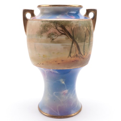 Morimura Brothers Hand-Painted Landscape Nippon Porcelain Vase, circa 1911