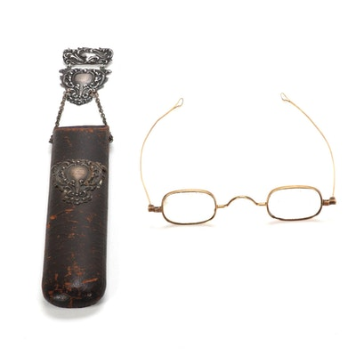 14K Gold Eyeglasses and Velvet Lined Case with Sterling Silver Hardware