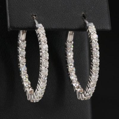 14K 2.82 CTW Diamond Inside-Out Oval Hoop Earrings