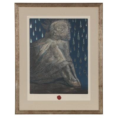 "Ernst Fuchs Embellished Lithograph ""Agnus Mysticus"""