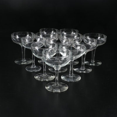 Clear Glass Champagne Coupes, Mid to Late 20th Century