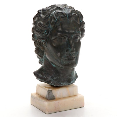 Metal Clad Sculpture on Marble Base of Male Bust, Mid-Late 20th Century