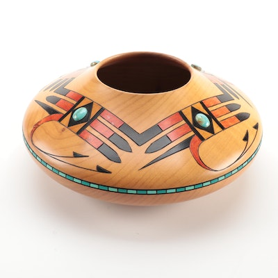 Klaus Stange Southwestern Turquoise Accented Alder Wood Bowl, Mid-20th Century