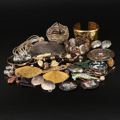 Abalone, Jasper and Enamel Jewelry Featuring Crown Trifari Bangle