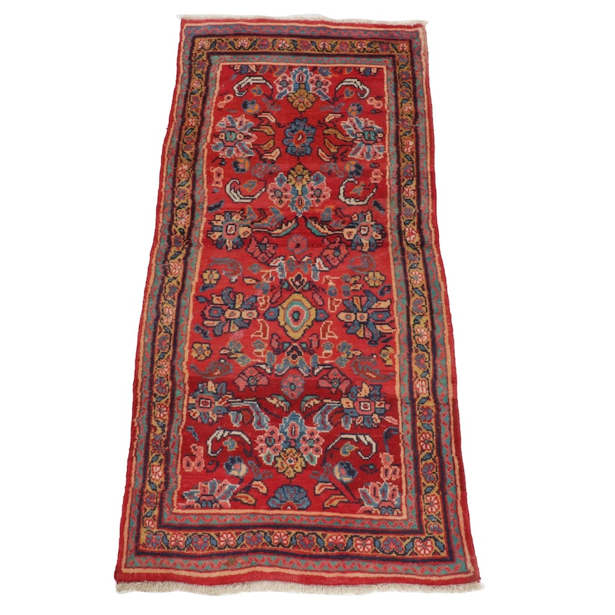 3'2 x 7'2 Hand-Knotted Persian Malayer Wool Rug