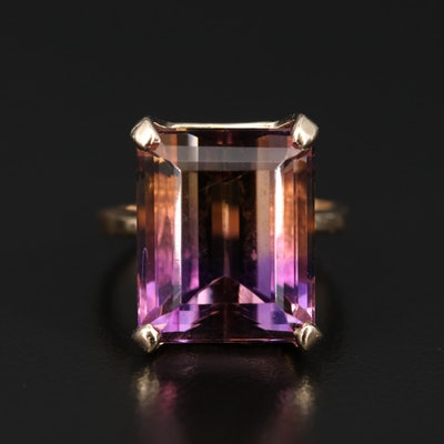 14K 16.80 CT Ametrine Rectangular Ring