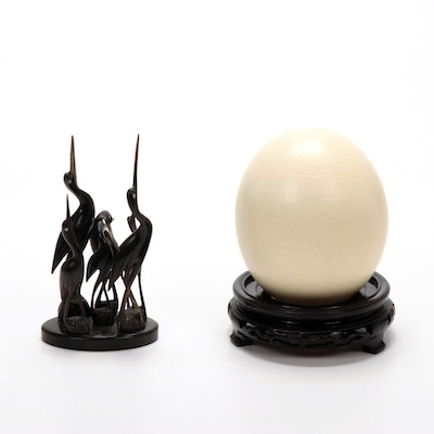 Hand-Carved Horn Wedge of Egrets, with Ostrich Egg on Stand