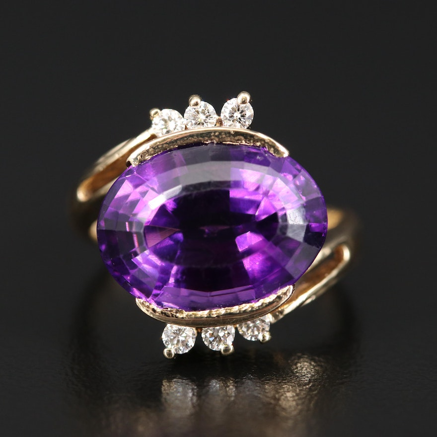 18K 12.00 CT Amethyst and Diamond Bypass Ring