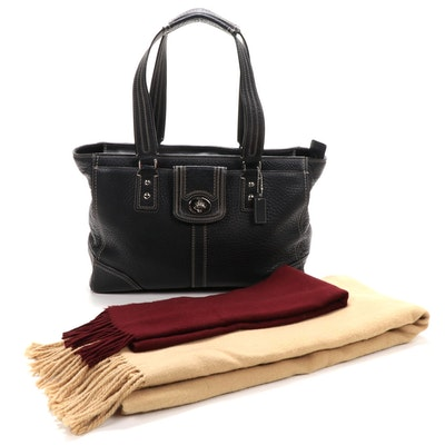 Two Cashmere Fringed Scarves with Coach Hamilton Black Grained Leather Tote