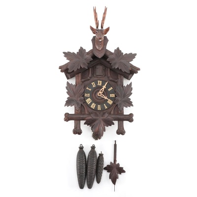 Sears Roebuck & Co. German Black Forest Craved Cuckoo Clock, Early-Mid 20th C