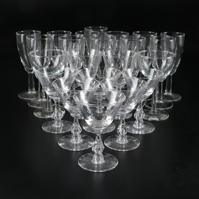 Floral Etched Bowl and Other Cocktail Glasses, Mid-20th Century