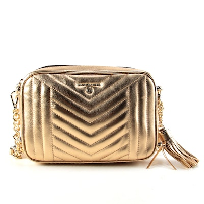 MICHAEL Michael Kors Gold Metallic Matelassé Crossbody Bag with Tassel