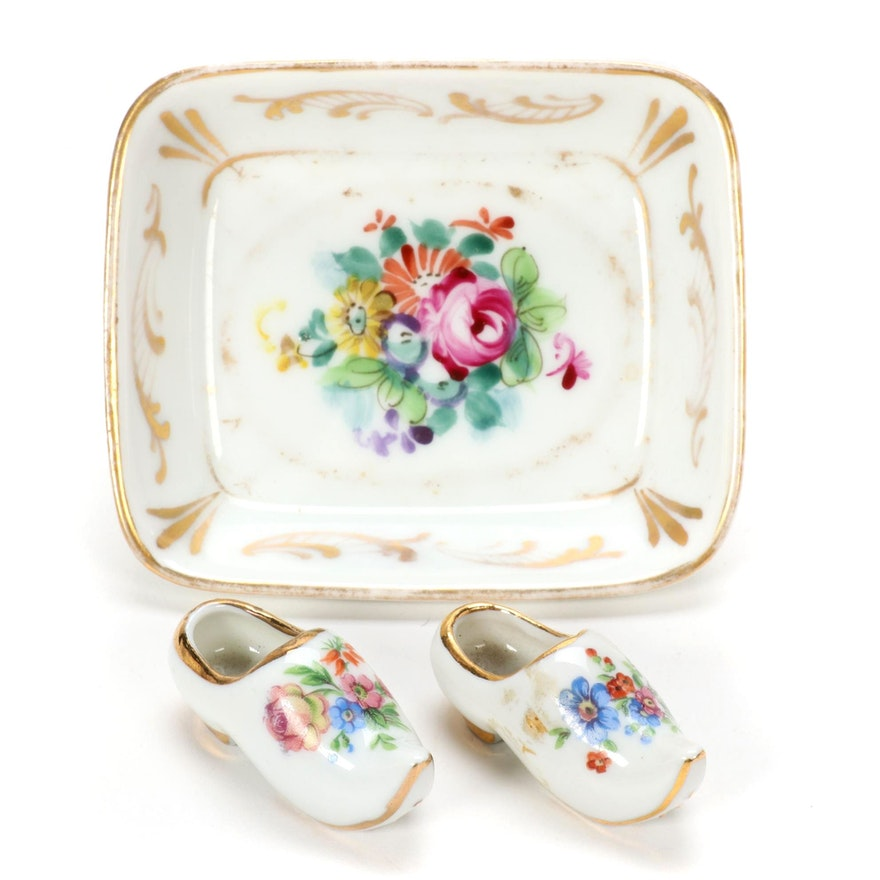 Limoges Porcelain MIniature Clogs and Dish