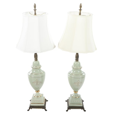 Pair of Neoclassical Style Gilt Metal Mounted Ceramic Urn Table Lamps