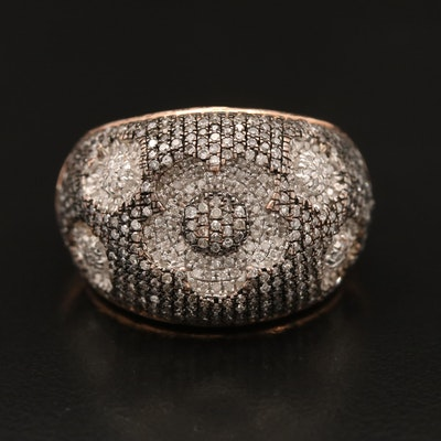 14K Rose Gold Diamond Floral Ring