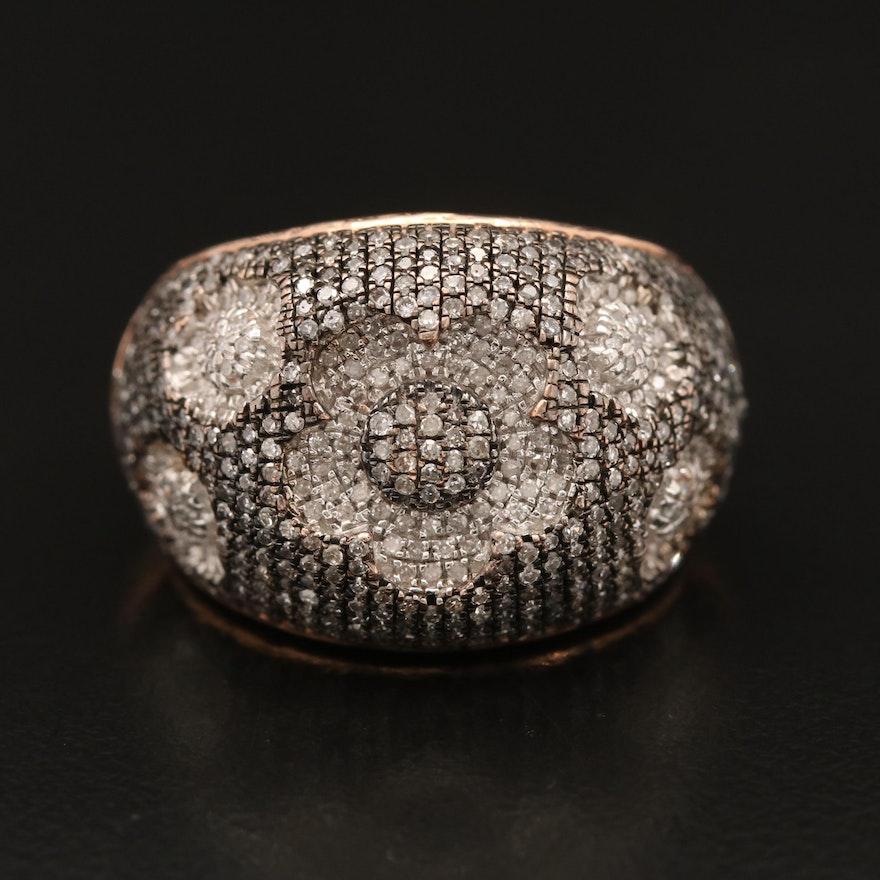 14K Rose Gold Diamond Floral Ring