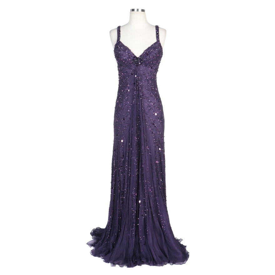 Alberto Makali Royal Purple Silk Chiffon Beaded and Sequined Gown with Wrap