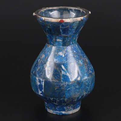 Lapis Lazuli Mosaic Vase with Sterling Silver and Jasper Accented Rim