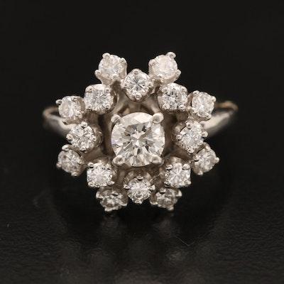 Platinum 1.34 CTW Diamond Cluster Ring with 14K Arthritic Shank