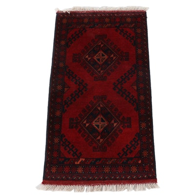 1'9 x 3'6 Hand-Knotted Afghan Baluch Wool Accent Rug