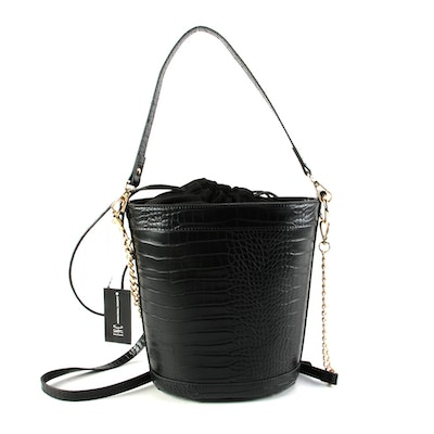 INC Black Embossed Vegan Leather Two-Way Bucket Bag