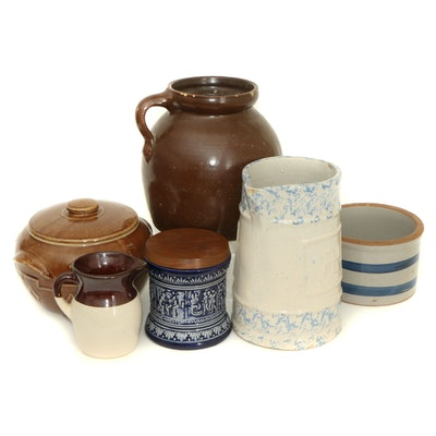 German Majolica Humidor Tobacco Jar and Other Ceramic Crockery