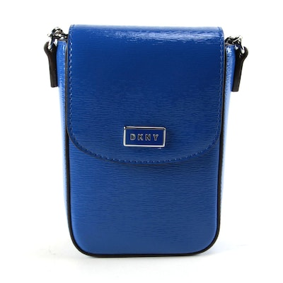 DKNY Sutton Blue Textured Patent Leather Crossbody
