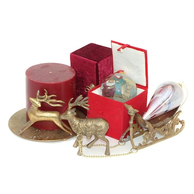 Brass Reindeer and Chinese Li Bien Christmas Ornaments, Late 20th Century