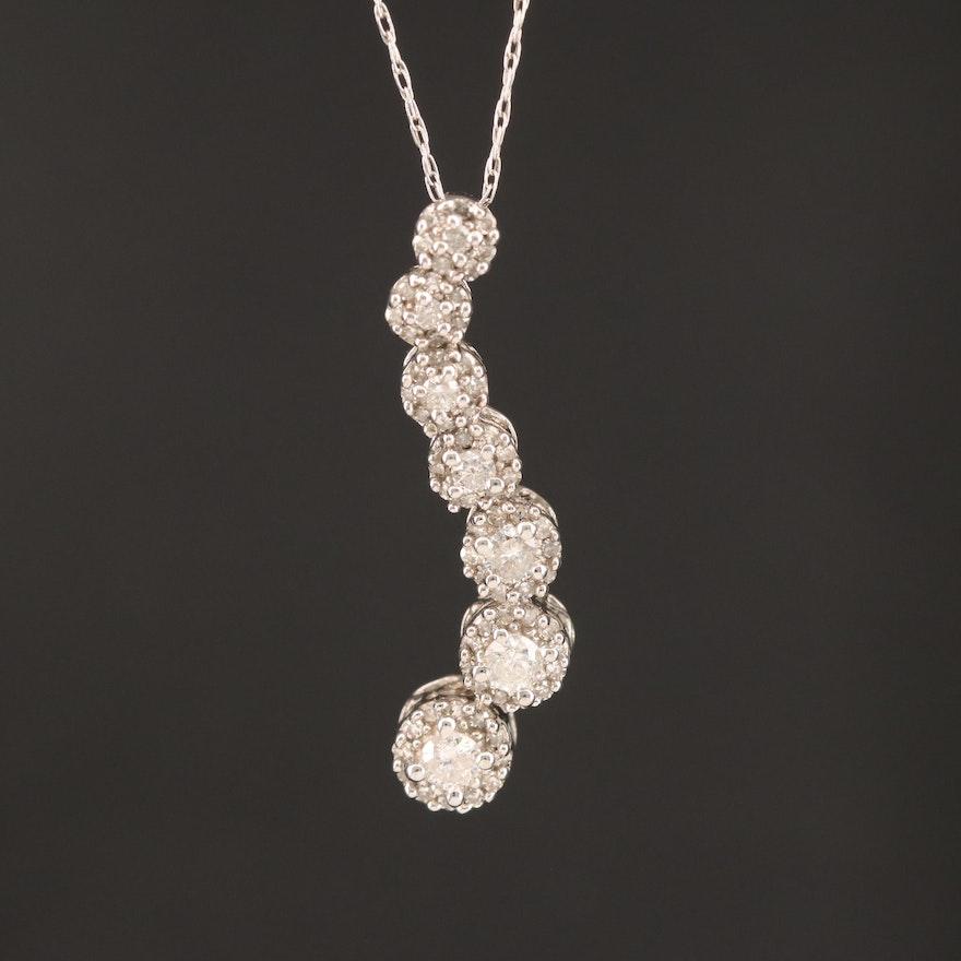 10K Diamond Journey Pendant Necklace