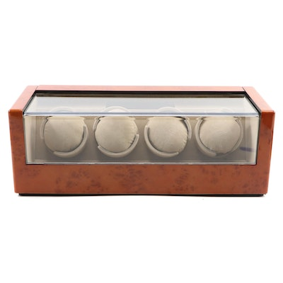 Quad Watch Winder with Burl Wood Finish