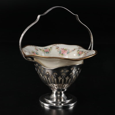 Watson Sterling Silver Bonbon Basket with Lenox Porcelain Insert