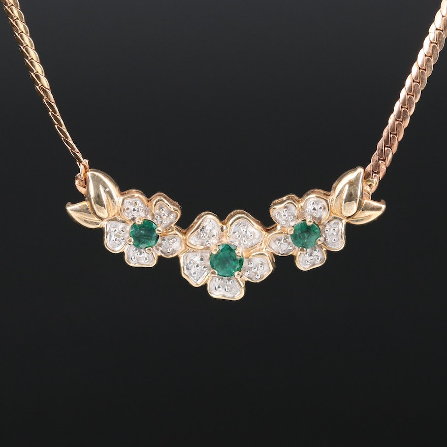 14K Emerald and Diamond Floral Necklace