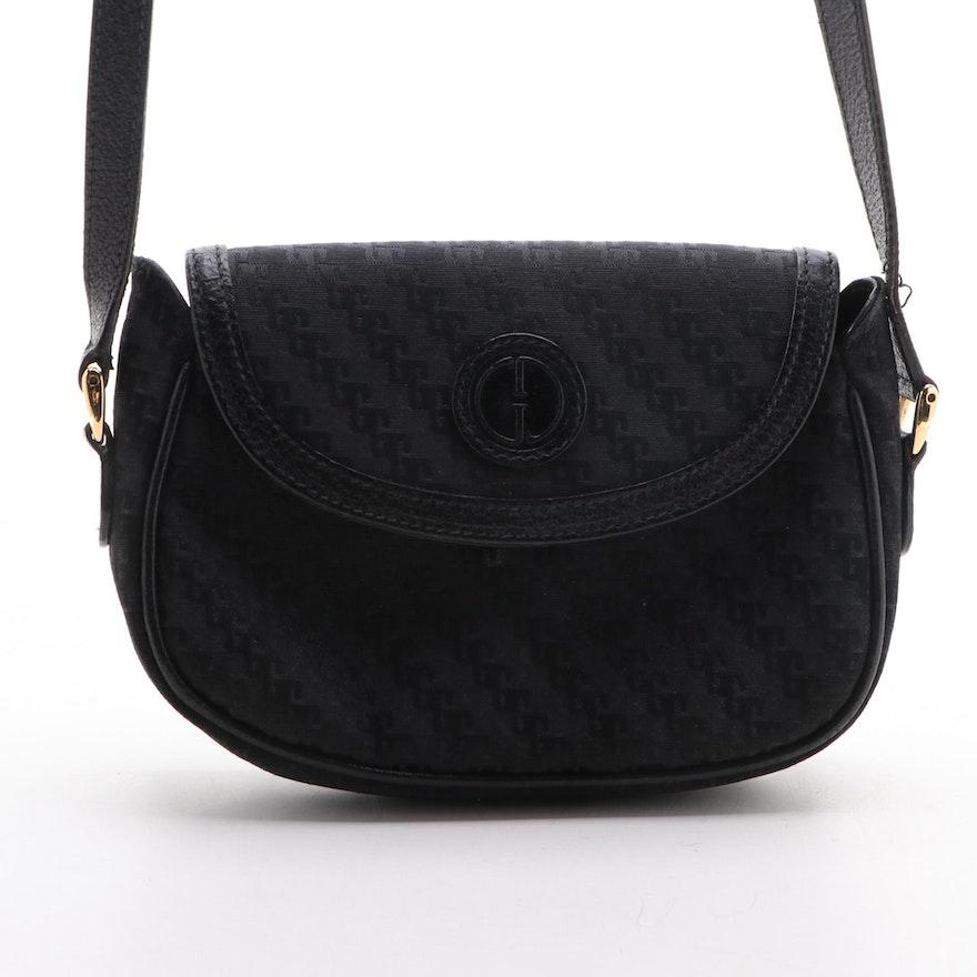 Gucci Diagonal G Logo Canvas and Leather Crossbody Flap Bag