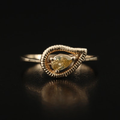 14K Diamond Paisley Ring