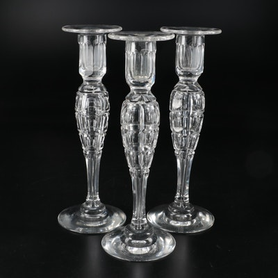 Handblown Cut Crystal Candlesticks, Late 20th Century