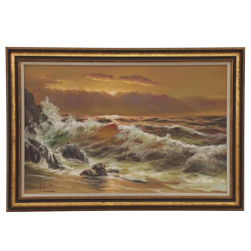 Seascape Oil Painting, Mid to Late 20th Century