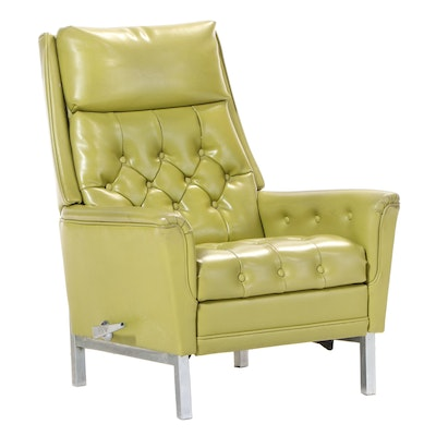 La-Z-Boy Modernist Button-Tufted Green Vinyl and Chrome Recliner, circa 1972