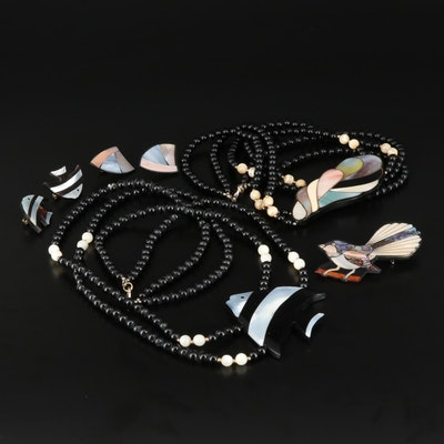 Fish and Shell Necklaces and Clip Earring Sets Plus Bird Brooch