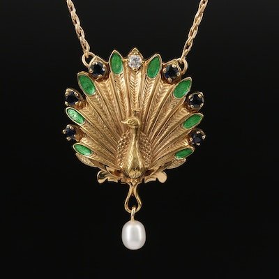 Igor Carl Fabergé 14K Diamond, Sapphire and Emerald Peacock Pendant Watch
