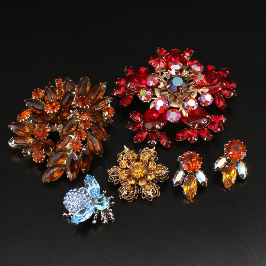 Vintage Rhinestone Brooches and Earrings Featuring Weiss and Austrian Crystal