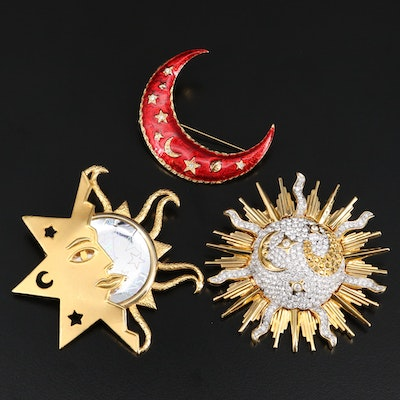 Swarovski Sunburst Crystal Glass Brooch with Pouch, Glass and Enamel Brooches