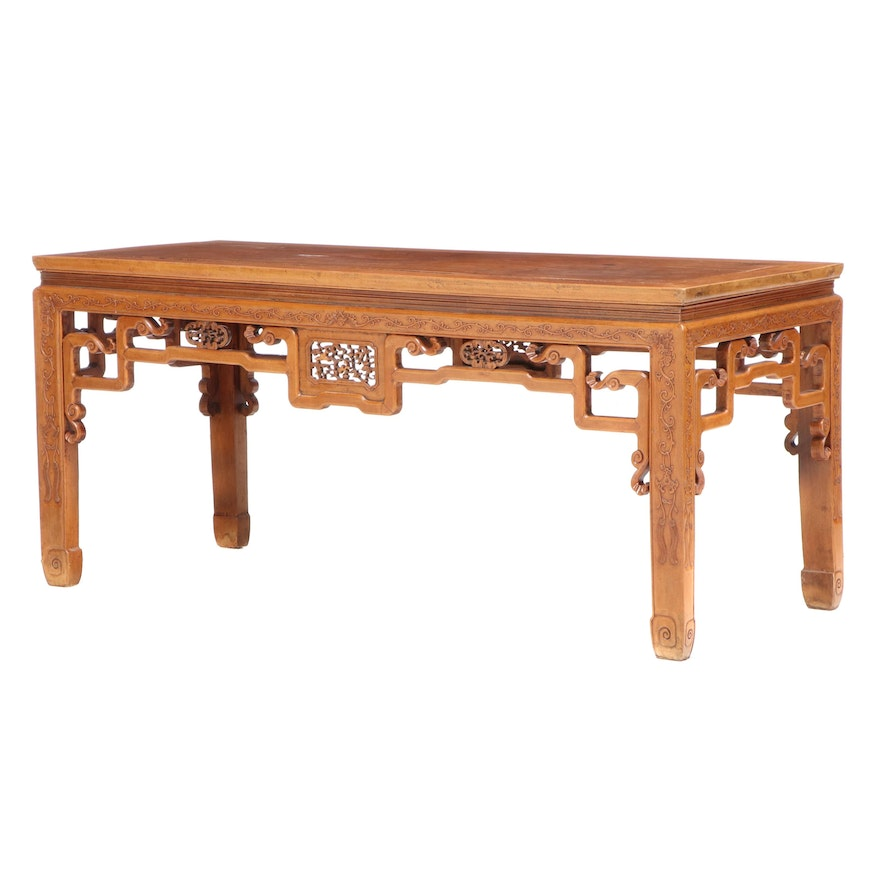 Chinese Carved Elm Table, Early 20th Century
