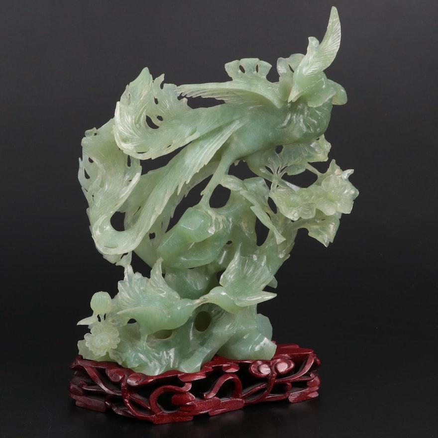 Chinese Carved Bowenite Phoenix Figurine