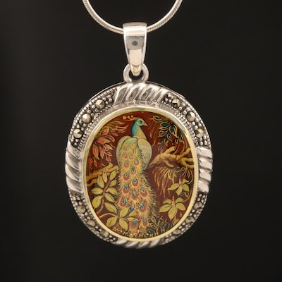 Signed Russian Sterling Hand Painted Agate Peacock and Marcasite Necklace