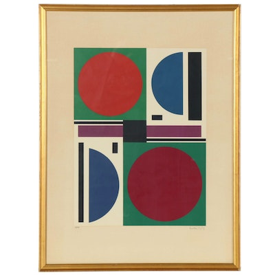 "Auguste Herbin Geometric Abstract Serigraph ""Eté II,"" 1959"