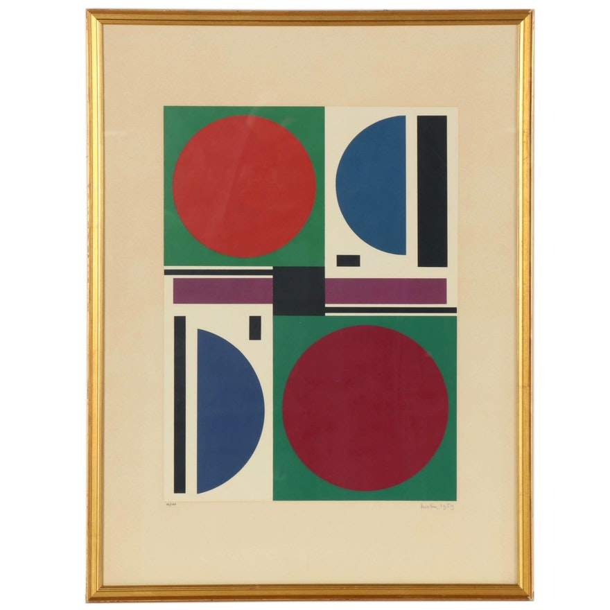 "Auguste Herbin Geometric Abstract Serigraph ""Eté II,"" 1959"