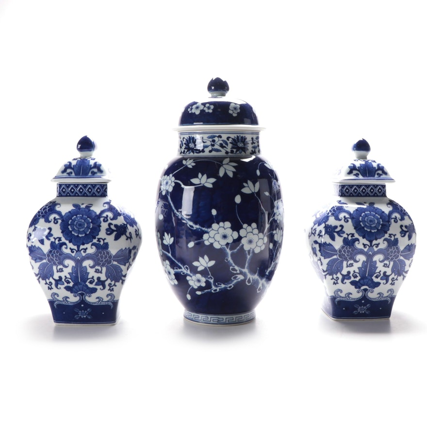 Ballard Designs Blue & White Chinoiserie Collection Ceramic Ginger Jars