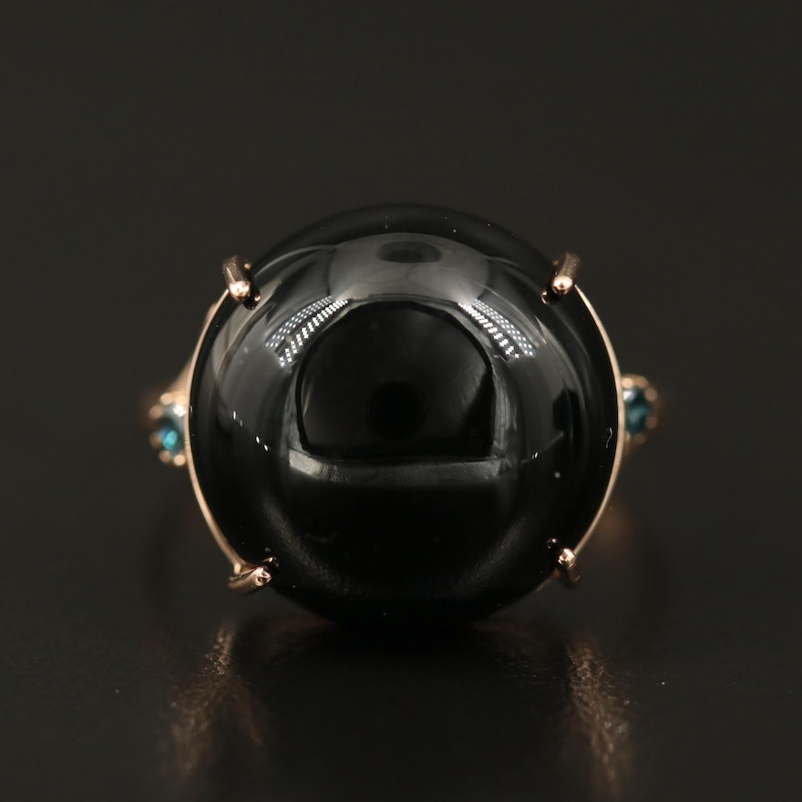 14K Black Onyx and Diamond Dome Ring