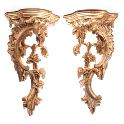 Rococo Style Giltwood Wall Brackets, Mid to Late 20th Century