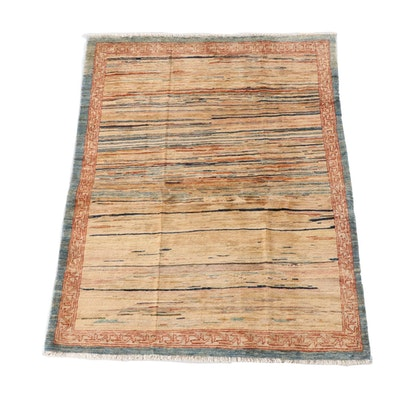 4'2 x 5'10 Hand-Knotted Afghan Gabbeh Wool Rug
